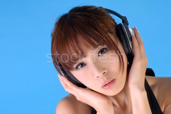 Foto stock: Asia · belleza · auriculares · primer · plano · retrato · azul