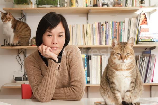 Сток-фото: женщину · кошек · домой · Focus · дома · кошки