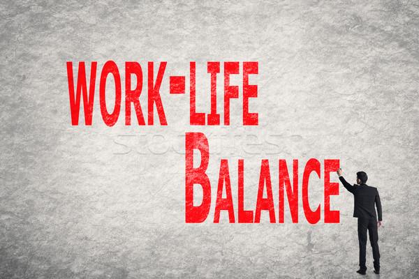 write words on wall, Work-Life Balance Stock photo © elwynn