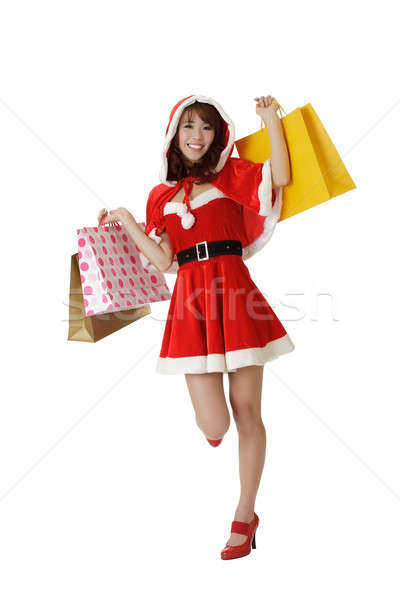 Stock photo: Happy shopping Christmas woman