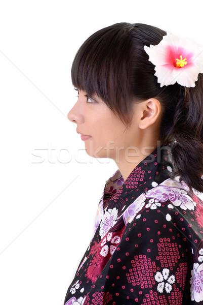 красивой Японский женщину традиционный одежды цветок Сток-фото © elwynn