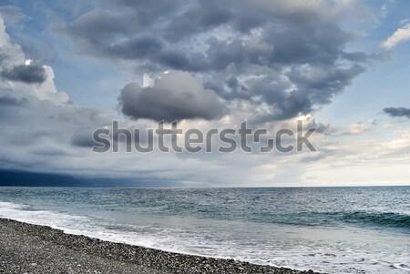 Kötü hava deniz manzarası bulutlu gökyüzü su dalga Stok fotoğraf © elwynn