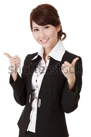 Sorridente mulher de negócios dar bem sucedido dobrar excelente Foto stock © elwynn