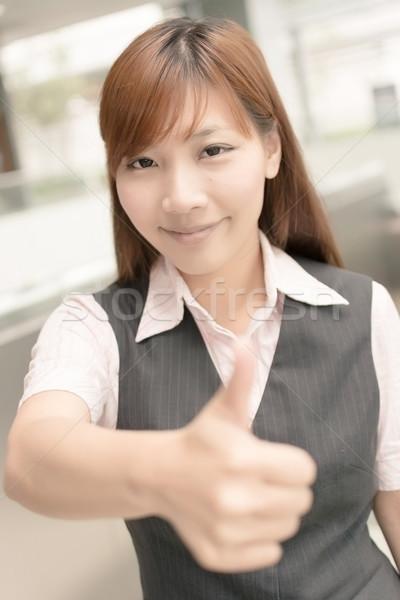 отлично знак азиатских деловой женщины давать жест Сток-фото © elwynn