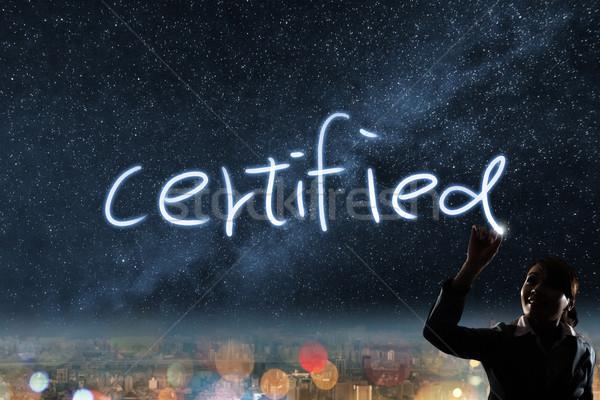 Certificado silhueta asiático mulher de negócios luz desenho Foto stock © elwynn