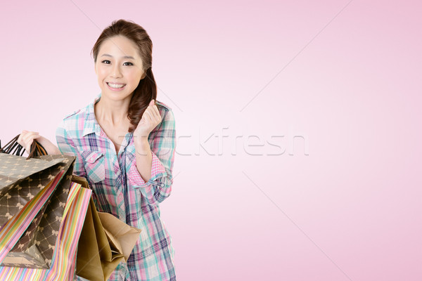 Vásárlás nő izgalmas fiatal tart szatyrok Stock fotó © elwynn