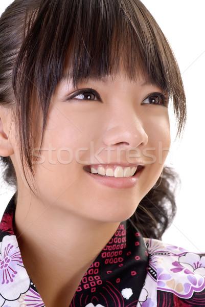 улыбаясь Японский девушки лице портрет Сток-фото © elwynn