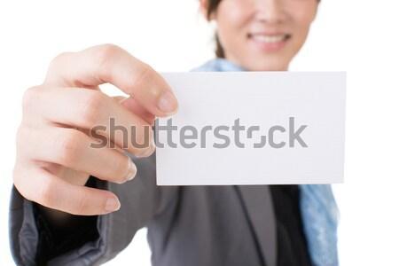 ázsiai üzletasszony tart névjegy zsakett közelkép Stock fotó © elwynn