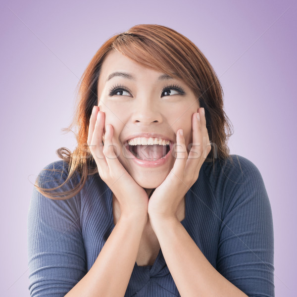 Excited happy Asian girl Stock photo © elwynn