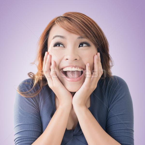 возбужденный счастливым азиатских девушки лице Сток-фото © elwynn