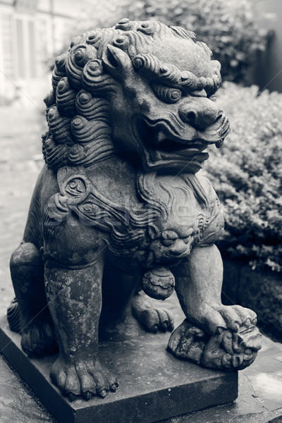 Bronze lion statue Stock photo © elwynn