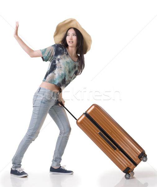Emozionante asian donna bagaglio ritratto Foto d'archivio © elwynn
