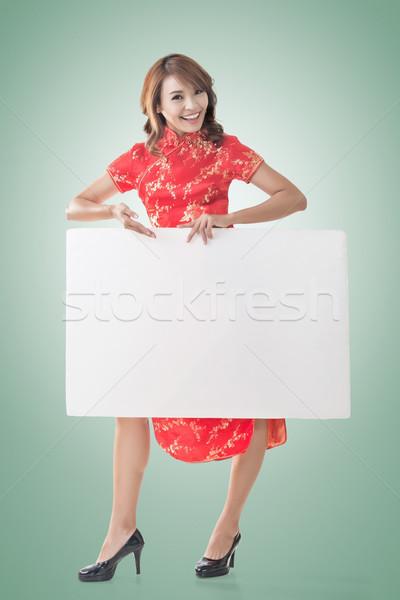 ストックフォト: 中国語 · 女性 · ホールド · ボード · 魅力的な · ドレス