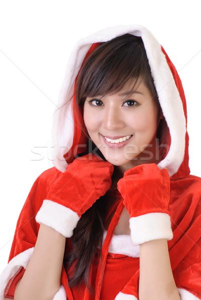 Mikulás nő vonzó ázsiai ruha mosolyog Stock fotó © elwynn