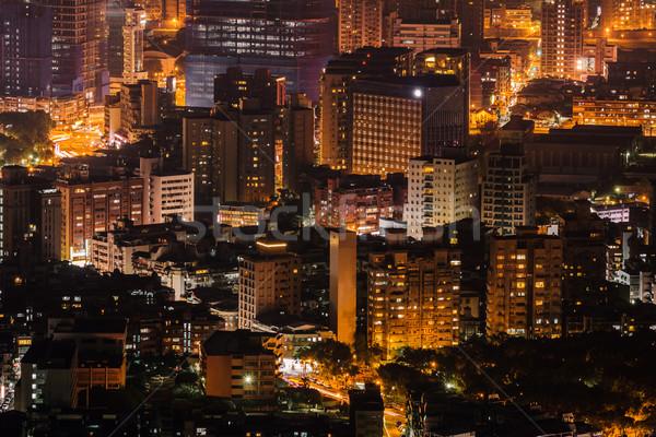 Moderna nocturna de la ciudad rascacielos Taiwán Asia oficina Foto stock © elwynn