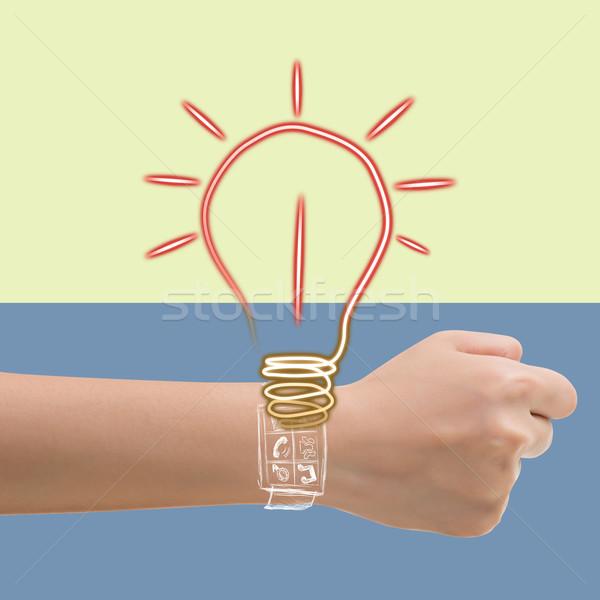 ötlet okos óra lámpa óra festék Stock fotó © elwynn
