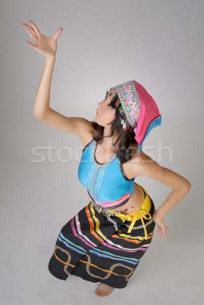 Stockfoto: Dansen · pose · chinese · traditioneel · kleurrijk · jurk