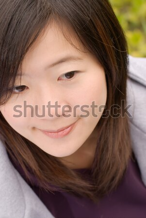 Retrato asiático mulher sentar-se ao ar livre Foto stock © elwynn