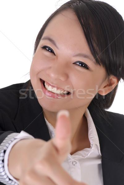 Cute biuro pani uśmiechnięta twarz dać doskonały Zdjęcia stock © elwynn