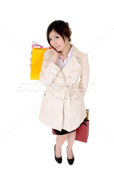 Attrattivo donna d'affari shopping lavoro isolato bianco Foto d'archivio © elwynn