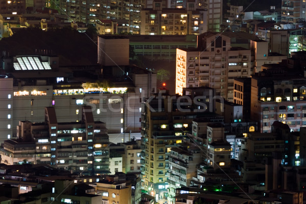 Cityscape of buildings in the night Stock photo © elwynn