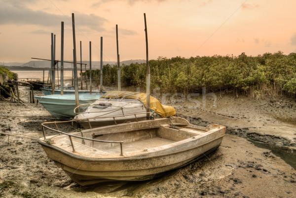 捨てられた ボート ポート 日没 市 水 ストックフォト © elwynn