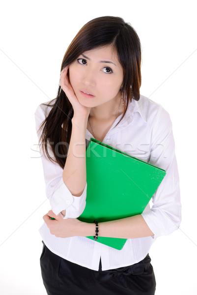 Zavart fiatal titkárnő nő ázsiai gondolkodik Stock fotó © elwynn