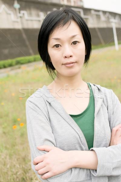 Sport maturo asian donna outdoor Foto d'archivio © elwynn
