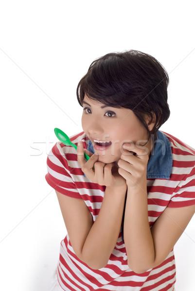 Lány izgalmas közelkép portré fehér boldog Stock fotó © elwynn