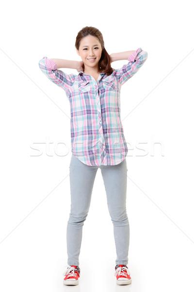 Feliz Asia nina retrato vestido ocasional aislado Foto stock © elwynn