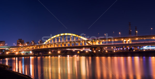Dramatic panoramic city night scene of bridge Stock photo © elwynn