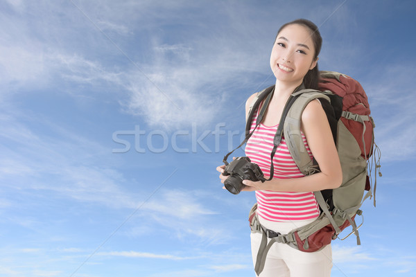 Stockfoto: Backpacker · camera · gelukkig · glimlachend · asian · jonge
