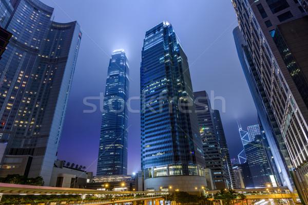 Гонконг Небоскребы ночь известный зданий бизнеса Сток-фото © elwynn