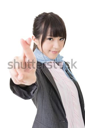 Asian business woman cross fingers Stock photo © elwynn