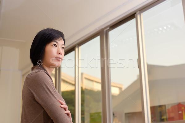 Stock fotó: ázsiai · nő · közelkép · portré · bent · iroda