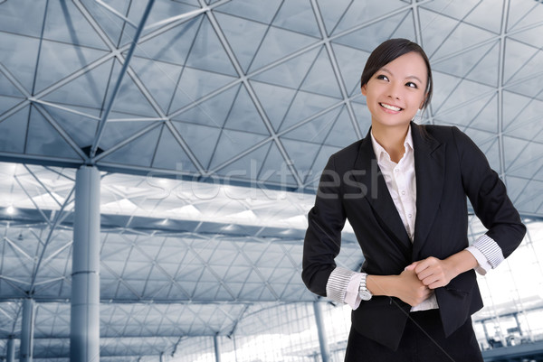 Photo stock: Heureux · femme · d'affaires · bureau · souriant · affaires · visage