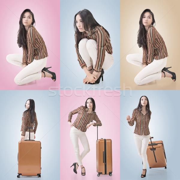 Reise asian Schönheit Gepäck Set Frau Stock foto © elwynn