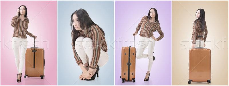 Squat pose by sexy Asian beauty Stock photo © elwynn