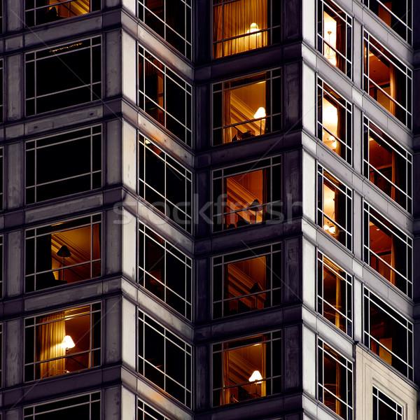 Architektur Wohnung außerhalb Nacht Büro Haus Stock foto © elwynn