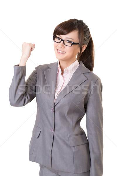 Stock photo: Exciting Asian business young woman