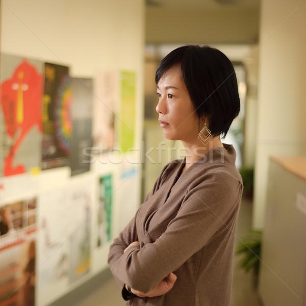 Stock fotó: érett · ázsiai · nő · gondolkodik · közelkép · portré