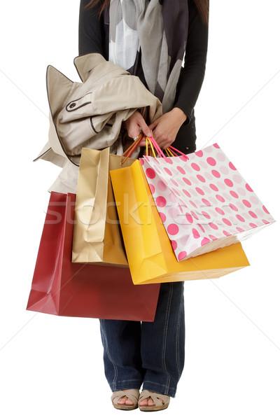 Shopping femme coloré sacs main Photo stock © elwynn