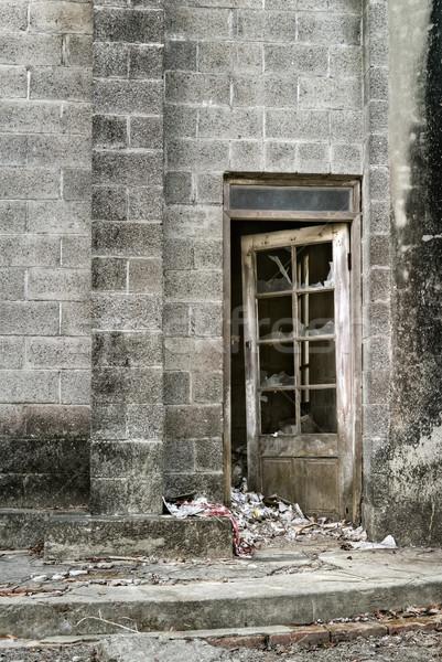 Verwüstung alten Wand Wüste Fenster Tür Stock foto © elwynn
