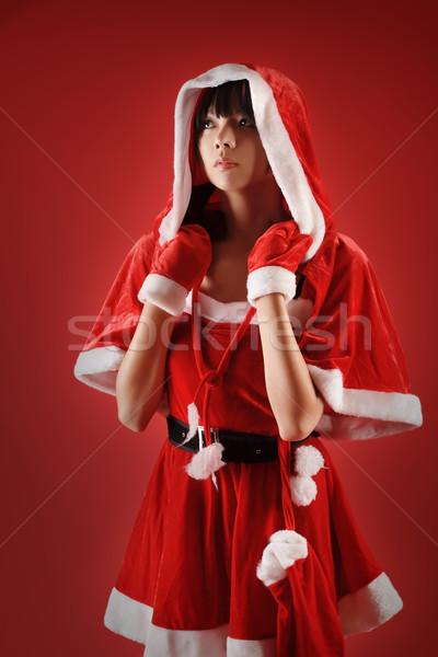Foto stock: Natal · menina · olhando · vermelho · cara