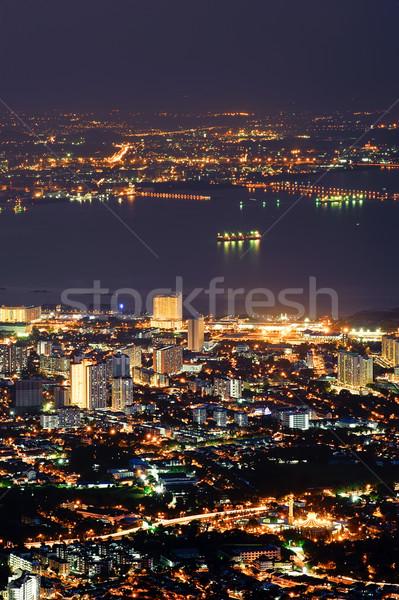 Night City złoty budynków Malezja asia biuro Zdjęcia stock © elwynn