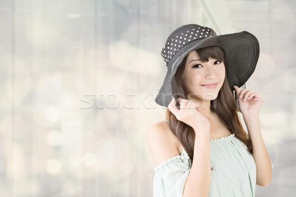 Elegant asian woman with hat Stock photo © elwynn