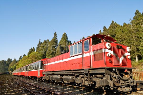 Piros vonat kék ég vasút erdő festői Stock fotó © elwynn