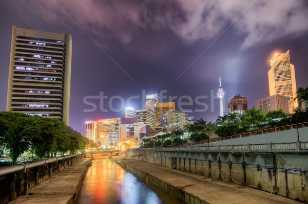 Modern şehir gece manzara renkli binalar towers Stok fotoğraf © elwynn