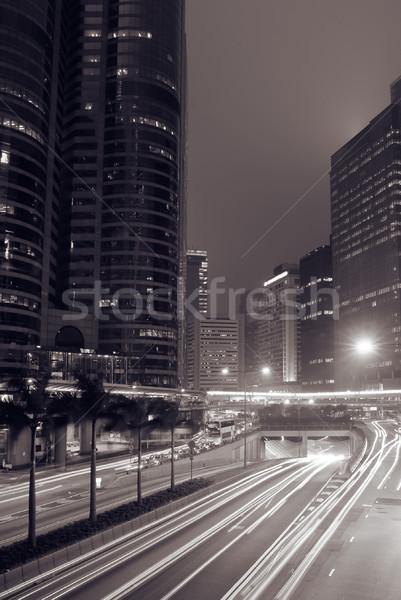 Photo stock: Modernes · Night · City · voitures · mouvement · floue · voiture
