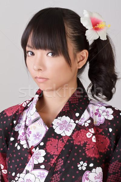 молодые привлекательная девушка азиатских Японский традиционный одежды Сток-фото © elwynn